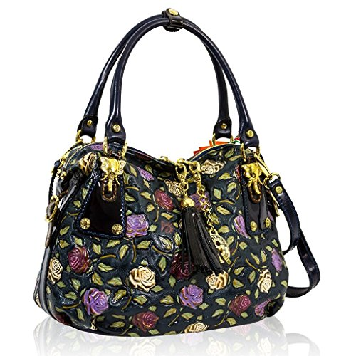 Marino Orlandi Italain Designer Handpainted Purple Roses Leather Large Satchel Bag