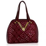Valentino Orlandi Italian Designer Burgundy Zigzag Quilted Leather Gilded Bowling Bag