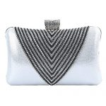 Covelin Women's Handmade Handbag Rhinestone Beaded Envelope Clutch Evening Bag