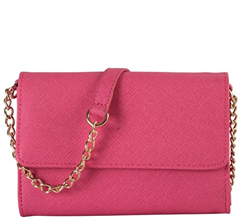 Diophy Saffiano PU Leather Mini Flap Cross Body Multi Spaced Messenger Wallet Womens Purse Handbag Accented with Adjustable Chain Strap SZ-703