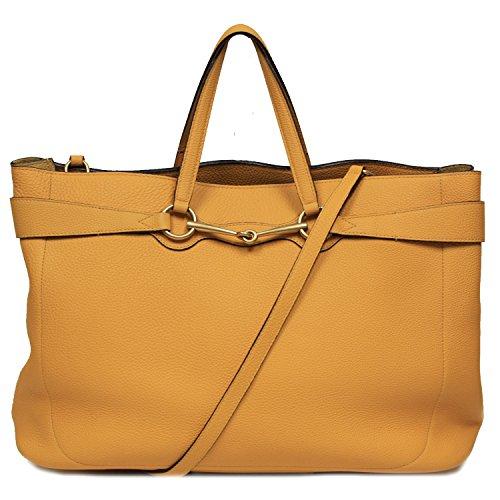 Gucci Soft Golden Yellow Bright Leather Horsebit Tote Bag Shoulder Handbag 353116