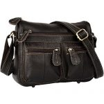 YALUXE Women's Cowhide Genuine Leather Multi Zipper Pocket Small Cross Body Shoulder Bag