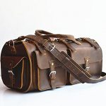 Marlondo Leather Weekender Duffel Bag - Full Grain Leather, Solid Brass Hardware