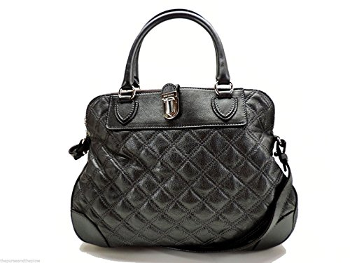 Marc Jacobs Quilting Whitney Leather Satchel Handbag Pearl Anthracite Italy