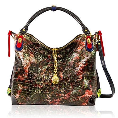Marino Orlandi Italian Designer Golden Red Alligator Leather Large Purse Crossbody Bag
