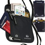 Neck Wallet Passport Holder & Travel Pouch RFID Blocking + 5 Extra Bonus Sleeves