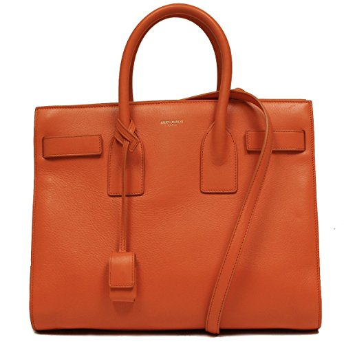 Saint Laurent Classic Small Sac De Jour Orange Leather Satchel Bag 324823