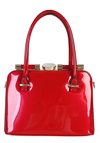 Rimen & Co. Shiny Patent PU Leather Doctor Style Small Crystal Décor Structured Womens Shoulder Handbag LP-2310
