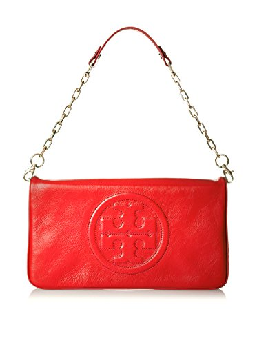 Tory Burch Bombe Reva Tory Red Leather Clutch & Shoulder Bag