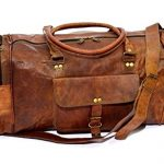 Firu-Handmade 20″ Vintage Style Leather Brown Duffel Gym Sports Luggage Travel Bag Handmade