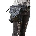Punk Waist Bag Gothic Leather Messenger Cross Body Mobile Phone Bag Victorian Rivet Leg Thigh Holster Bag