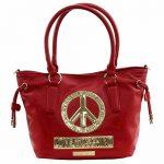 Love Moschino Women's Peace Red Leather Bucket Tote Handbag