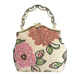 Covelin Women's Small Tote Handbag Flower Beaded Clutch Evening Bag Hot