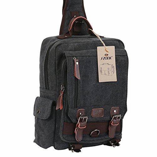 90626bfc98 S-ZONE Sling Canvas Cross Body 13-inch Laptop Messenger Bag Shoulder  Backpack