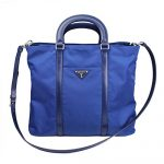 Prada Blue Tessuto Nylon Leather Shopping Tote Bag Shoulder Handbag 1BG057