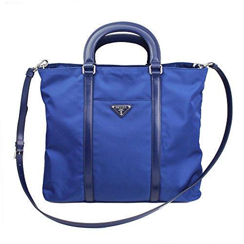 53e3924206 Prada Blue Tessuto Nylon Leather Shopping Tote Bag Shoulder Handbag 1BG057