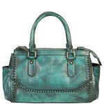 Diophy Genuine Leather Old Fashion Top Handles Doctor Style Handbag 140155 Blue