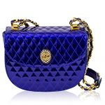 Valentino Orlandi Italian Designer Cobalt Blue Quilted Leather Half Moon Chain Bag