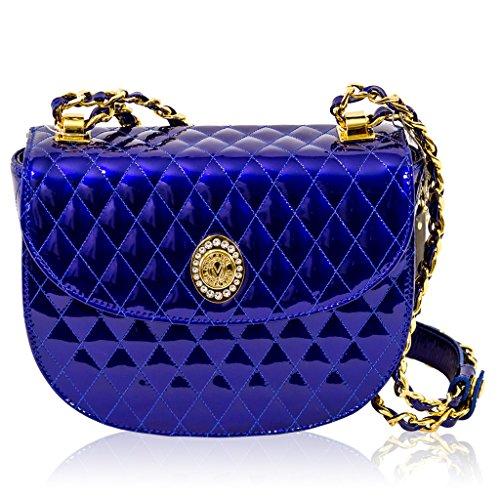 686fae5f036c Valentino Orlandi Italian Designer Cobalt Blue Quilted Leather Half ...
