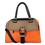 Diophy Womens Faux PU Leather Three Tone Doctor Satchel Women Handbags Purse GS-3103