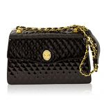 Valentino Orlandi Italian Designer Black Quilted Leather Purse Crossbody Bag