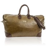 Terrida Italian Designer Classic Brown Ostrich Leather Leather Duffle Travel Bag