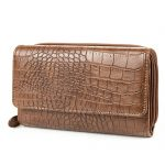 MUNDI Big Fat Womens RFID Blocking Safe Wallet Clutch Organizer: Crocodile Pattern