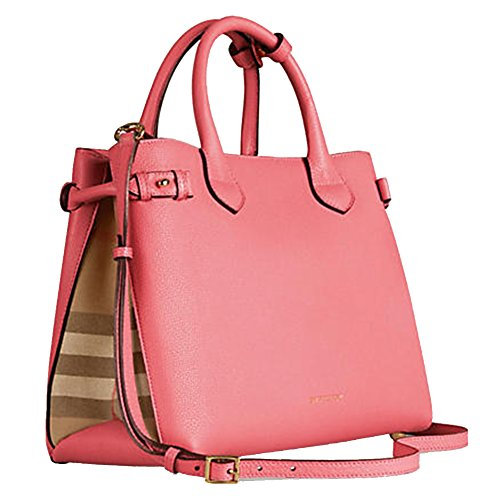 537ac73bfa32 Tote Bag Handbag Authentic Burberry Medium Banner in Leather and House  Check Mauve Pink Item 39818951