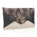 BMC Chic Multicolor Snakeskin Print Chain Accent Envelope Style Statement Clutch