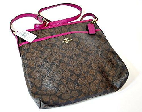 Coach Signature File Bag (Brown/Fuchsia) - F34938 IMDGK
