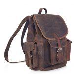 KomalC 15″ Vintage Genuine Buffalo Leather Backpack Rucksack Travel Bag College Bag