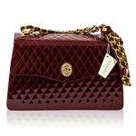 Valentino Orlandi Italian Designer Burgundy Quilted Leather Chain Purse Bag