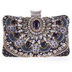 Ellis Women Crystal Rhinestone Evening Bridal Clutch Bag Fashion Handbag Black