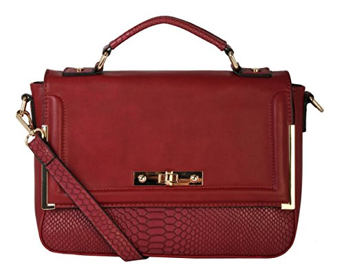 Diophy PU Leather Structured Crocodile Texture Turn-lock Crossbody Messenger Satchel Handbag Purse AB-004