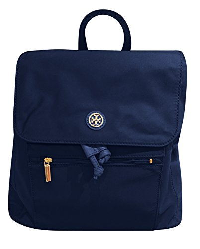 Tory Burch Travel Drawstring Flap Backpack in Nylon W/ Leather Accents Tory Navy