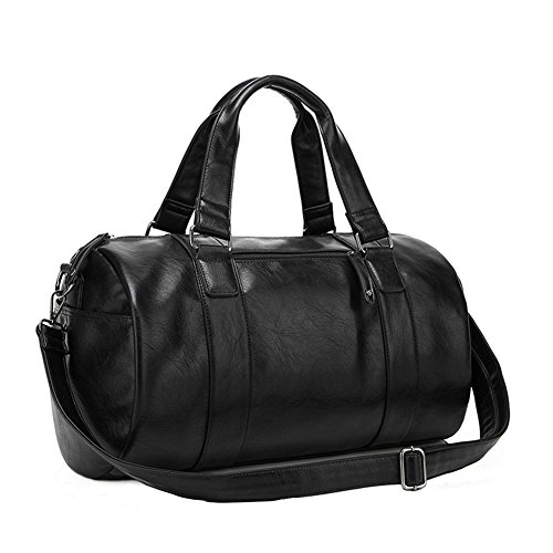 BAOSHA HB-02 Men TOP PU Leather Handbag Totes Travel Weekender Duffel Bag Black
