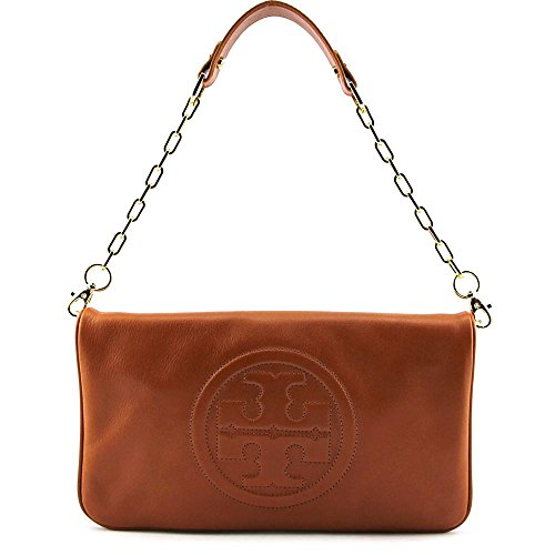Tory Burch Bombe Reva Luggage Brown Leather Clutch & Shoulder Bag