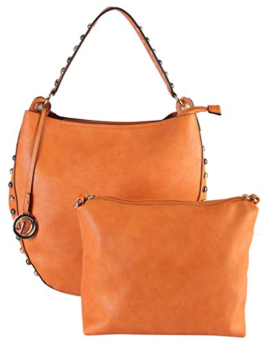 Diophy PU Leather Large Hobo Accented with Two Tone Studded Décor Womens Purse Handbag SD-3326 SD-3327