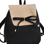 Coofit Leather Backpack Girls Schoolbag Shoulder Bag Casual Daypack with Bowknot