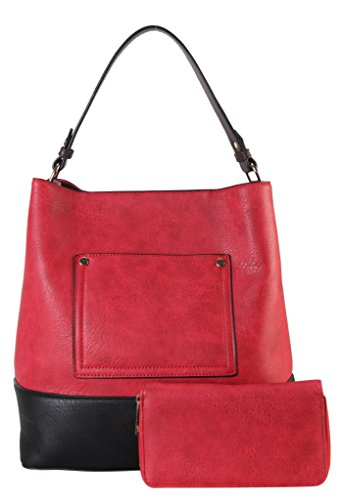 Diophy PU Leather Front Pocket Two Tone Bag in Bag Hobo Accented with Wallet 2 Pieces Set Womens Purse Handbag MY-3402