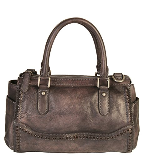 Diophy Genuine Leather Old Fashion Top Handles Doctor Style Handbag 140155 Grey