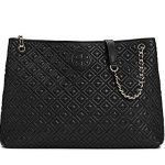 Tory Burch Marion Quilted Tote Black Leather Bag Handbag