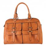 Rimen & Co. Double Front Pockets Two Top Handle Zipper Closure Casual Doctor Style Women Handbag Purse K30-2657 Brown