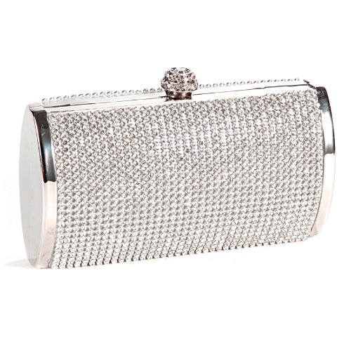 Shimmering All-Over Diamante Covered Evening Bag Small Box Shape Clutch