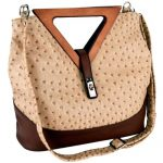 MG Collection Kora Ostrich Wood Triangle Top Handle Tote Purse, Tan, One Size