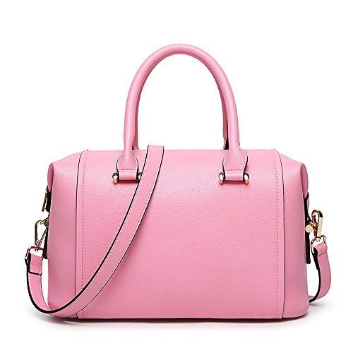 Mn&Sue Summer Sweet Pink Lady PU Leather Doctor Style Handbag Pillow Barrel Boston Bag Women Satchel
