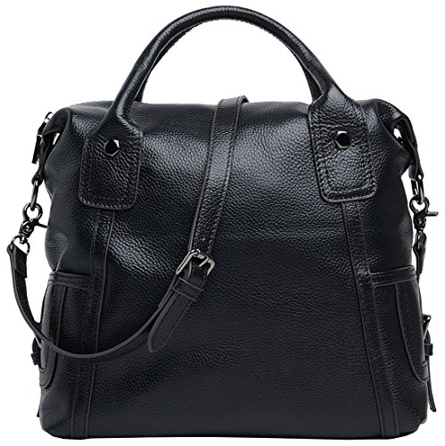 Heshe Soft Women s Simple Style Large Capacity Casual Collection Tote  Shopper Shoulder Bag Cross Body Handbag Perfect Purse Lady (Black ) e225f0e262d82