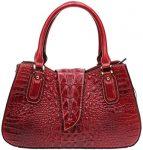 Iblue Ladies Crocodile Embossed Leather Designer Satchel Top Handle Handbags 14in #W256 (L, red)