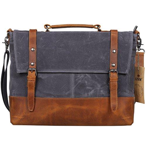 b70e56c350 S-ZONE Vintage Waterproof Canvas Leather Messenger Traveling Briefcase  Shoulder Laptop Bag