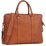 Banuce Italian Leather Slim Briefcase Tote/Shoudler Laptop Case